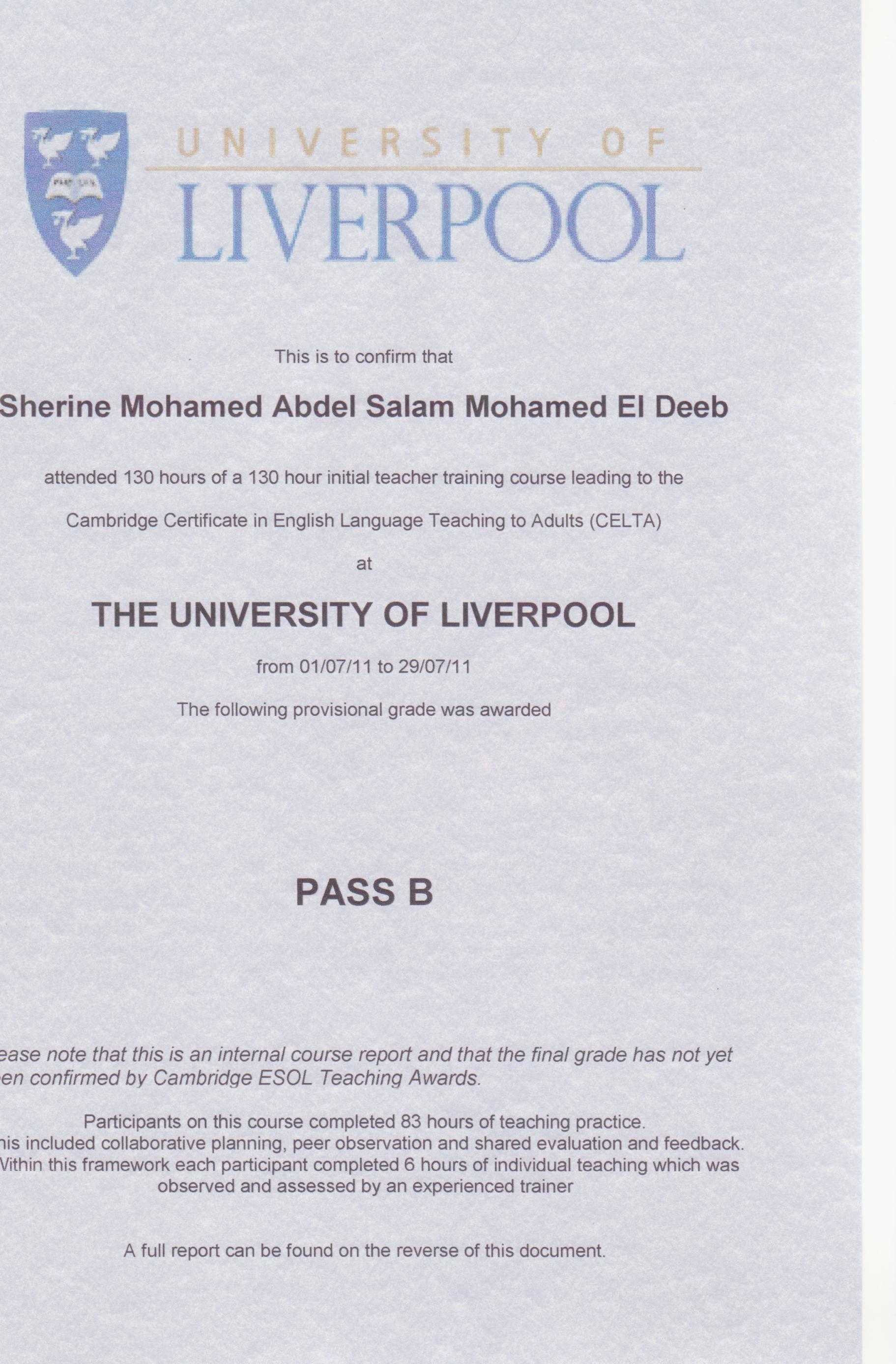 Sherine mohamed abdel salam el deeb photo album celta certificate celta certificate 1betcityfo Images