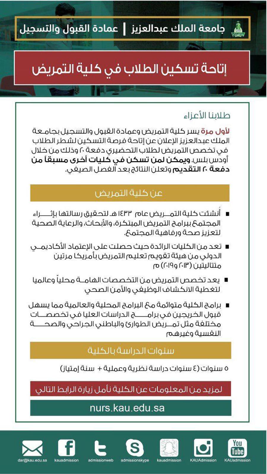 جامعة الملك عبدالعزيز إتاحة تخصص التمريض لشطر الطلاب بالجامعة