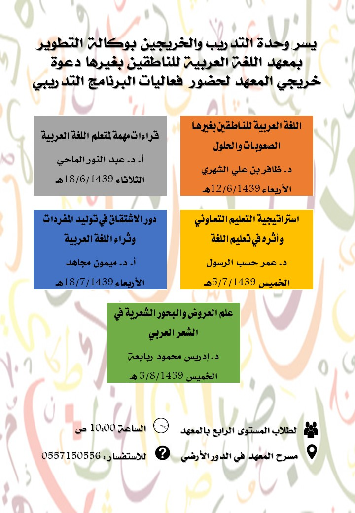 إعلان البرامج التدريبية المقدمة لطلبة المعهد الخريجين للفصل الدراسي الثاني من العام الجامعي 1438/ 1439